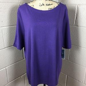 NEW Women Purple Karen Scott Shirt Plus Size 3XL